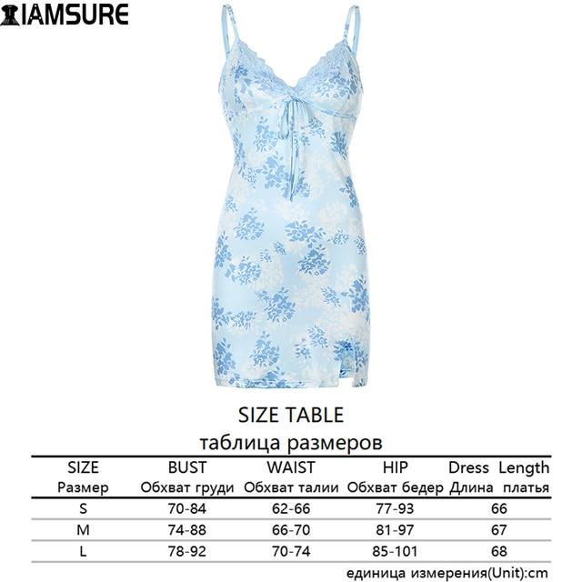 IAMSURE Streetwear Fashion Lace Edge Sexy V-Neck Split Bodycon Dress For Women Flower Print Aesthetic y2k Female Mini Dresses 6