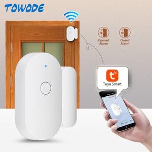 Image 2 - Towode 1/3/5Pcs WIFI Sensore Porta TUYA APP di Controllo di Sicurezza della Porta Finestra di Apertura del Sensore Magnetico Senza Fili compatibile con Alexa