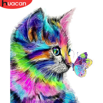 HUACAN  Oil Painting Cat Animal HandPainted DIY Gift Kit Drawing On Canvas Coloring By Number Butterfly Wall Art Home Decor - discount item  40% OFF Arts,Crafts & Sewing