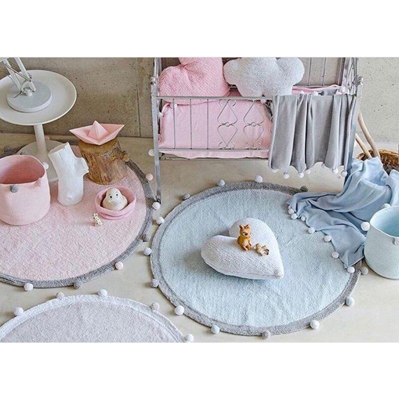 Coton bébé pompons tapis de jeu tapis rond enfants jouets bébé photographie accessoires Style nordique enfants chambre décoration 120cm