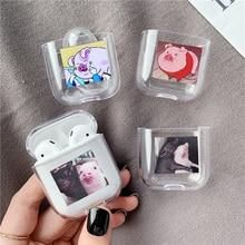 귀여운 만화 돼지 투명한 하드 airpods 프로 케이스 케이스 블루투스 무선 헤드셋 에어 포드 보호 케이스 충전 가방