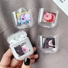 חמוד cartoon חזיר שקוף קשיח עבור Airpods פרו מקרה מקרה Bluetooth אלחוטי אוזניות עבור אוויר תרמילי מגן מקרה טעינת תיק