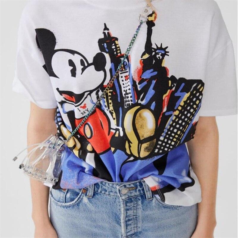 Mickey-T-Shirt-das-Mulheres-EU-Amo-NY-Divertido-T-Shirt-de-Manga-Curta-T-Shirt