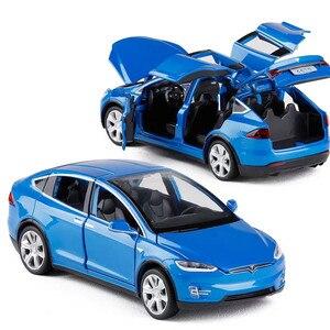 Image 1 - Modèle voiture Tesla X en alliage 1:32, jouet électronique avec feux de Simulation et voiture musicale, idée cadeau pour enfants