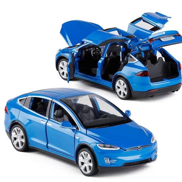 Modèle voiture Tesla X en alliage 1:32, jouet électronique avec feux de Simulation et voiture musicale, idée cadeau pour enfants