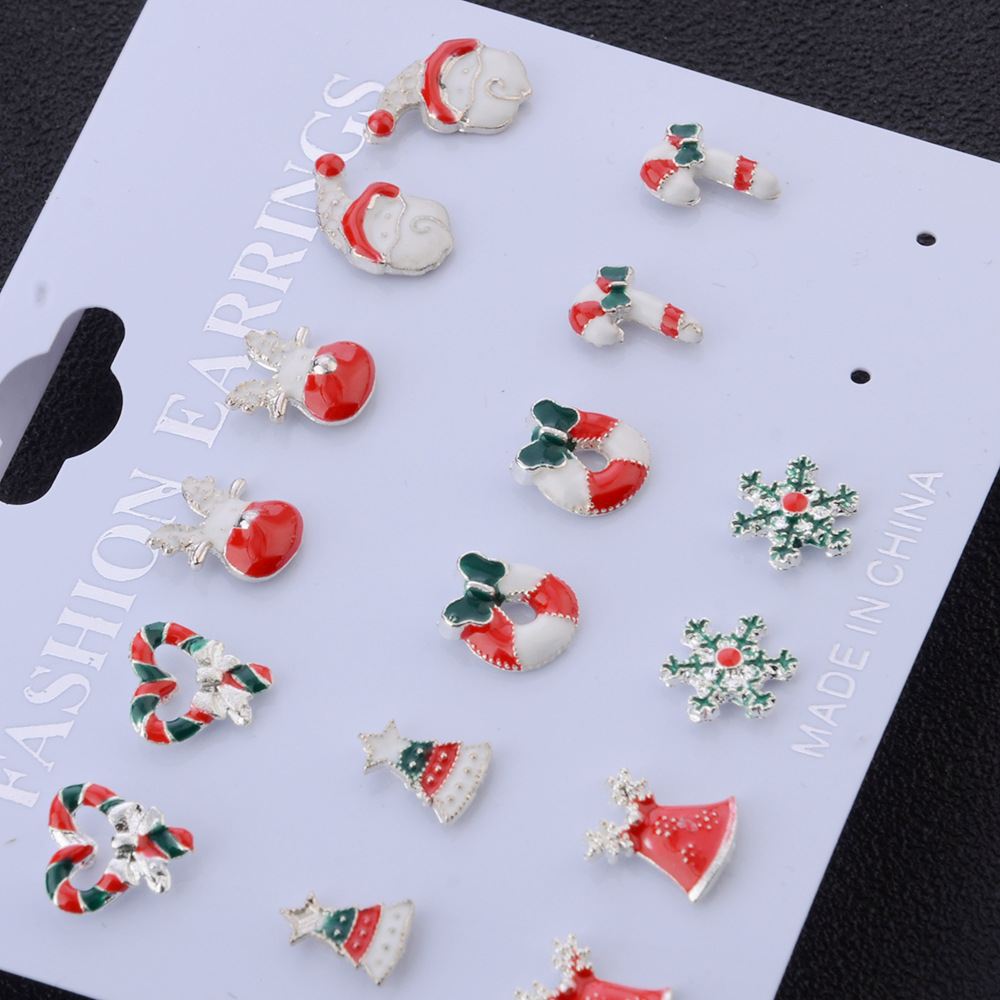 8Pairs Christmas Earrings Jewelry Accessories Set Cute Santa Claus Snowman Lovely Tree Bell Christmas Gifts For Women Girls Kids