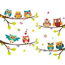 DIY Owls on Tree Pattern Wall Sticker For Kids Bedroom Wall Sticker Art Wall Decor Mural Kid's Child Room Decal Home Decoration все цены