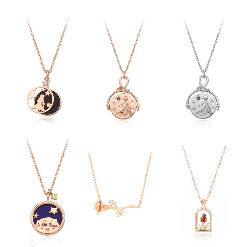 Image 2 - Herwish The Little Prince Pendant Necklace 925 Sterling Silver Bling Ziconia Figure Rose Link Chain Necklaces Women Jewelry-in Pendant Necklaces from Jewelry & Accessories