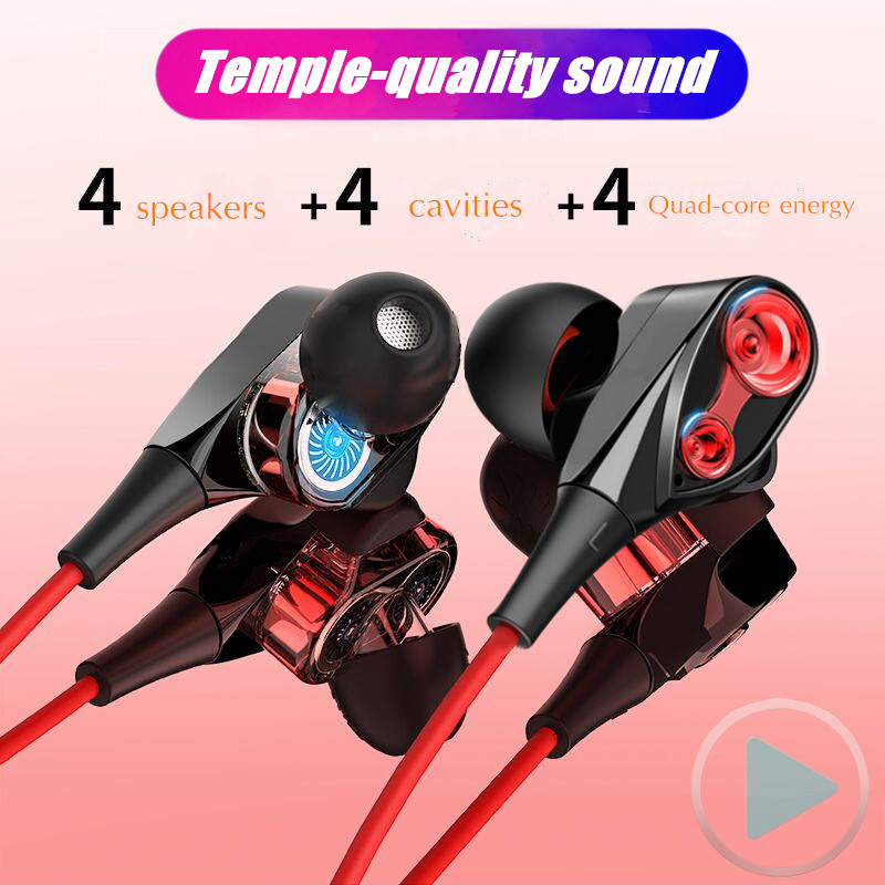 Dual Unit Driver Earphone Wired HIFI Stereo Earbuds For Xiaomi Redmi note 8 pro 4 Speakers Super Bass Headset with Microphone