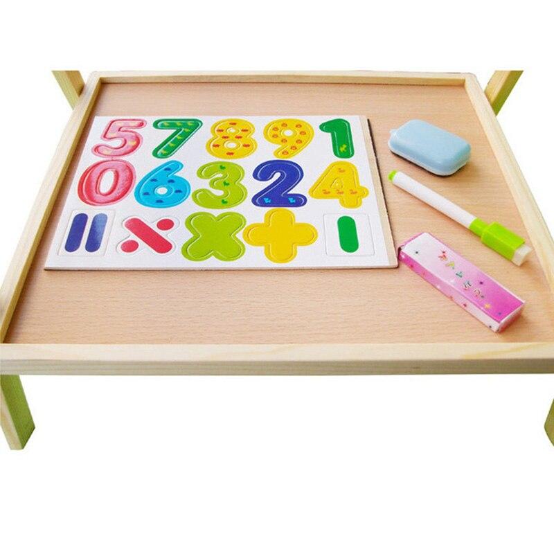 Enfants en bois levage double face magnétique planche à dessin chevalet croquis graffiti peinture cadre puzzle apprentissage tableau noir jouet - 6