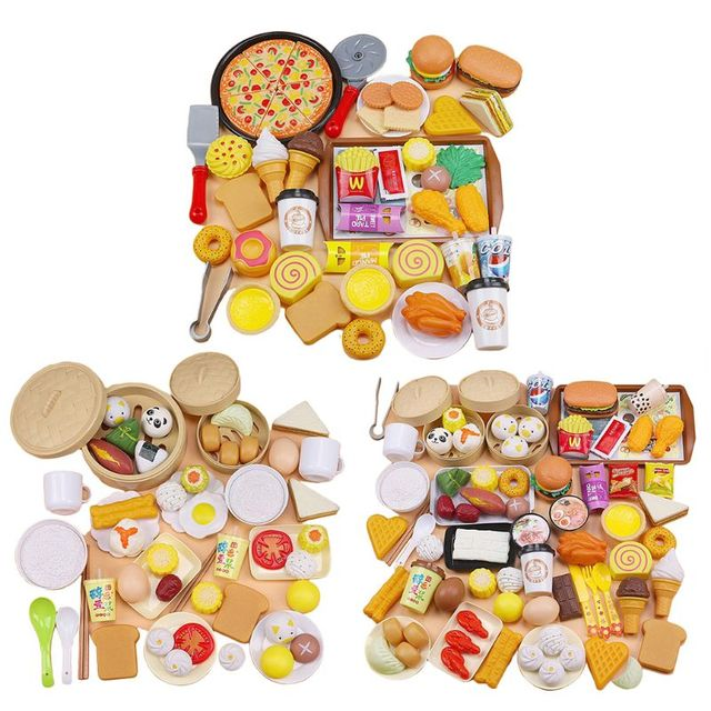 56/58/88Pcs/set Children Simulation Steamer Burger Set Meal Food Kitchenware Kit