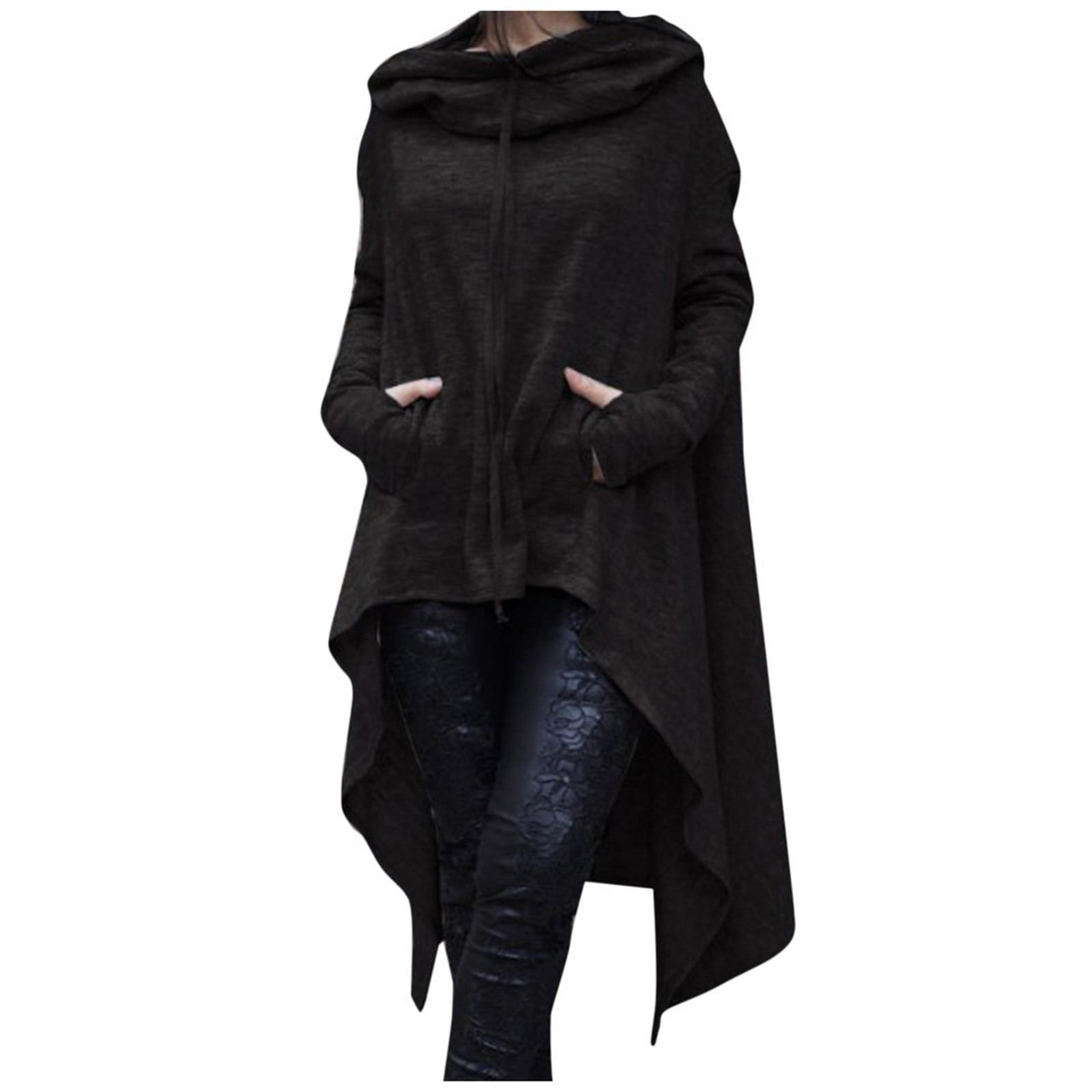 40#Women Plus Size Long Sleeve Hood Tops Solid Sweatshirt Irregular Long Hoodies Autumn Winter Pocket Elegant Pullover Tops