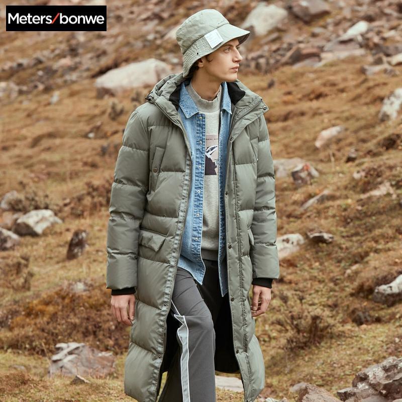 Metersbonwe 2019 Long Down Winter Jackets Business Long Thick Winter Down Coat Men Solid Fashion Overcoat Outerwear Warm