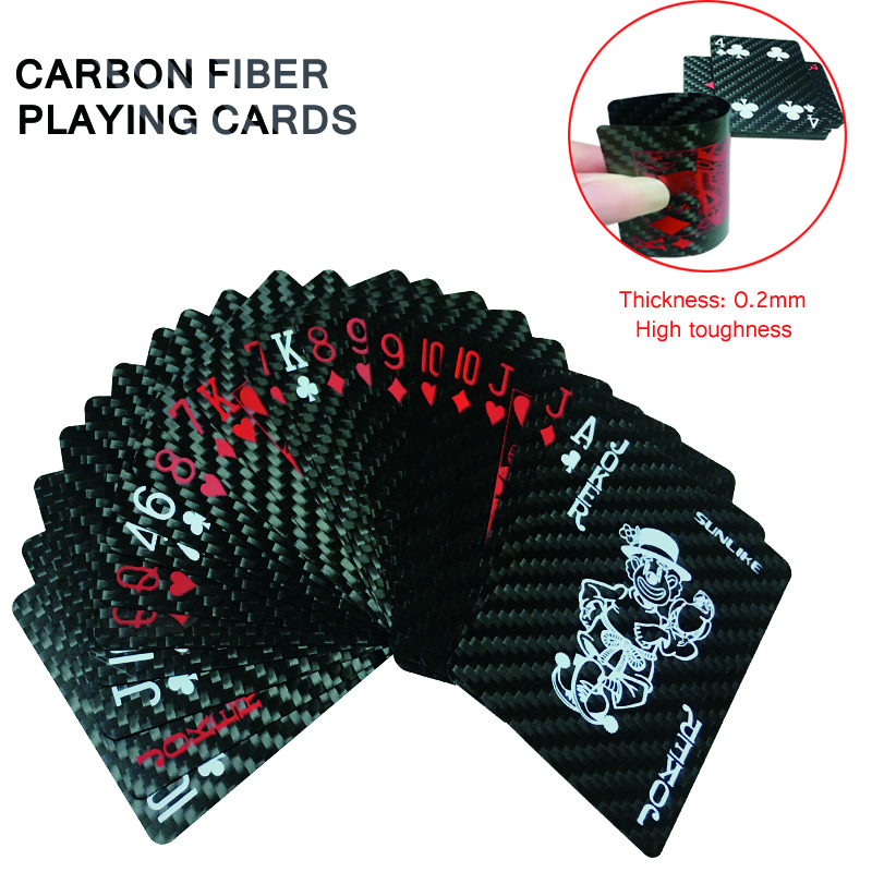 Carbon Fiber Playing Card Thickness 0.2mm Waterproof Fireproof Carbon Fiber Playing Cards Classic Collection Black Poker