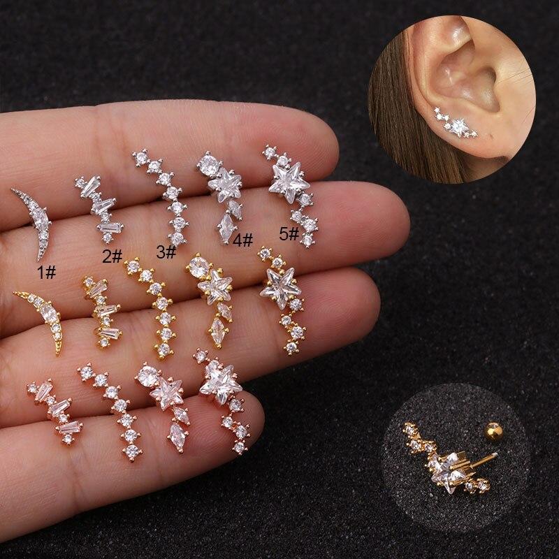Tragus piercing barbell de acero inoxidable de hélice pendientes cristal rosa oro plata