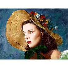Peinture de diamants avec chapeau, jolie fille, beauté, broderie, femme avec motif de chapeau, Kits complets de perceuse, point de croix, couture I39