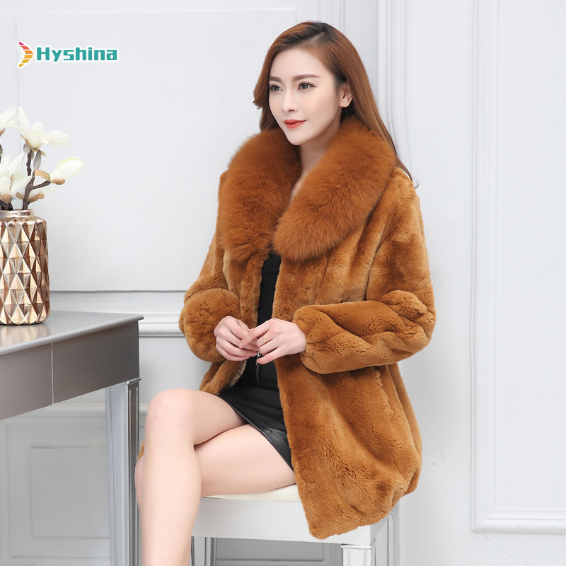 Winter Real Rabbit Rex Fur Jacket Fox Fur Collar Plus Size Fur Coat Women Tops And Blouses Gothic Vintage Christmas Clothes