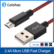 1m 2m Micro USB Cable for Xiaomi Redmi Note 5 Pro 4 Reversible Fast Charger Data Samsung S7 Mobile Phone