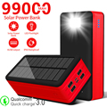 99000mAh High Capacity Solar Battery Charger with LED 4USB Portable Outdoor Travel Emergency PowerBank for Xiaomi Samsung Iphone