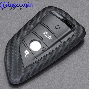 jingyuqin For BMW X1 X5 X6 E70 E71 F15 F16 Sieries Fiber Silicone Auto Key Protection Cover Case Shell Car-Styling image