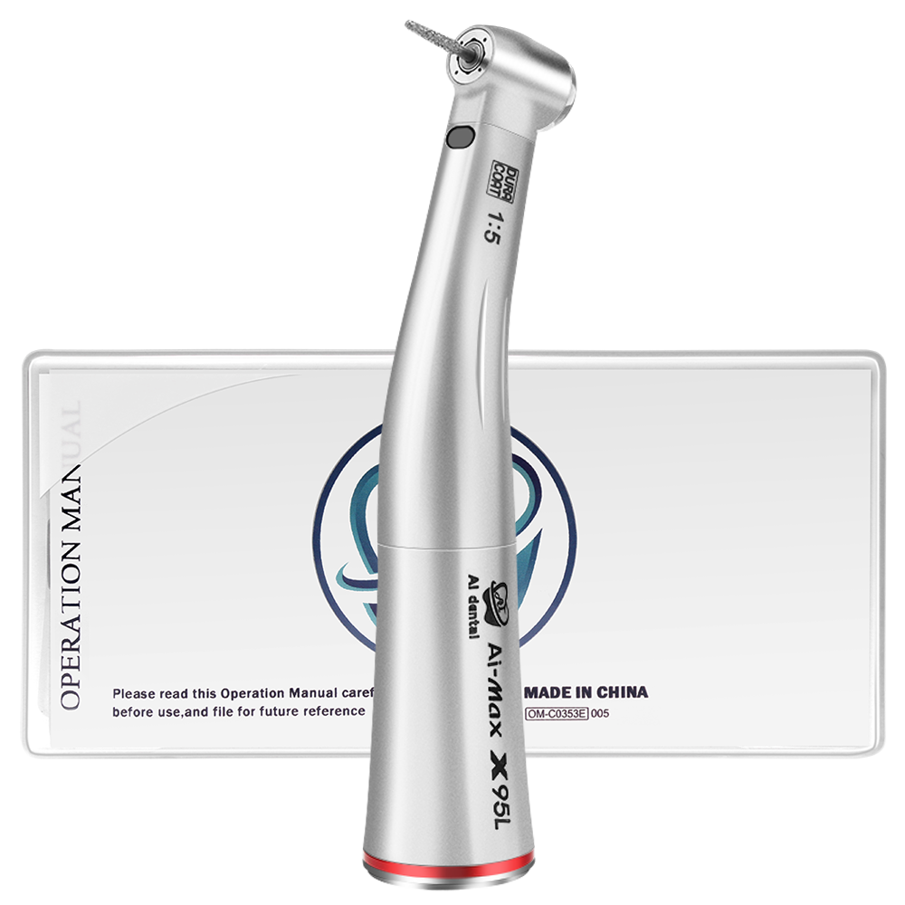 Dental 1:5 Increasing Red Ring  Contra Angle Low Speed  Quattro Water Spray Low Push Handpiece With Optic Fiber For E-TYPE Motor