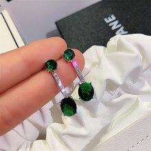 RongXing pendientes largos de circonita de cristal ovalado verde para mujer 925 pendientes de piedra llena de plata Día de Acción de Gracias presente