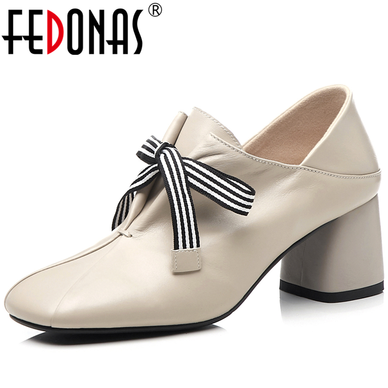 FEDONAS Euro Style Elegant Fashion Women Cow Leather Thick Heels Working Wedding Butterfly Knot Lace-Up Shoes New  Shoes Woman