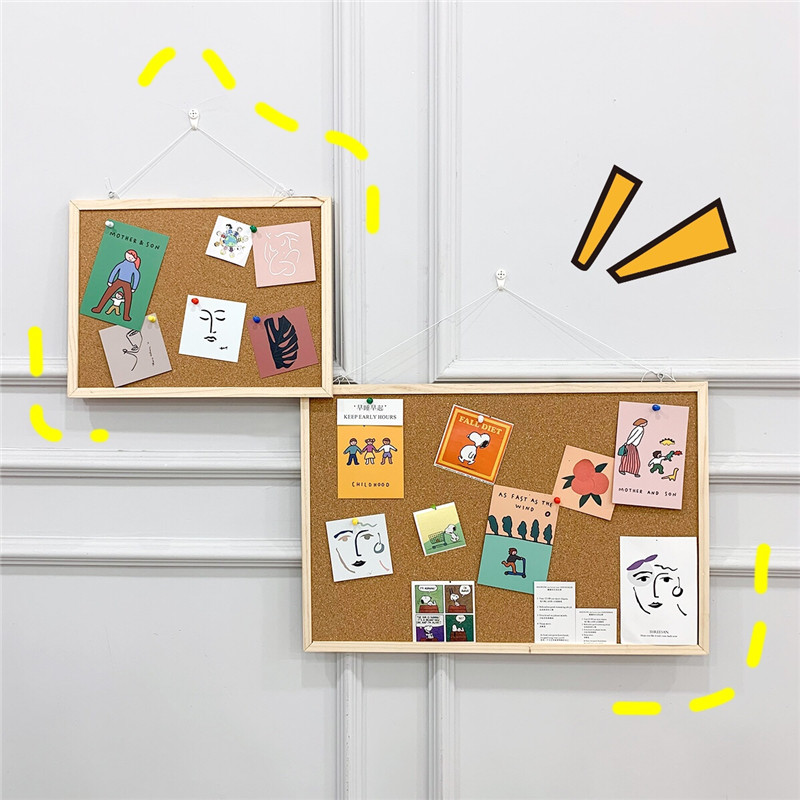 Cork Board Pin Boards Bulletin Board Wall Wood Frame Notice Photos Hanging DIY Push Pins Message Board Memo Wooden Board