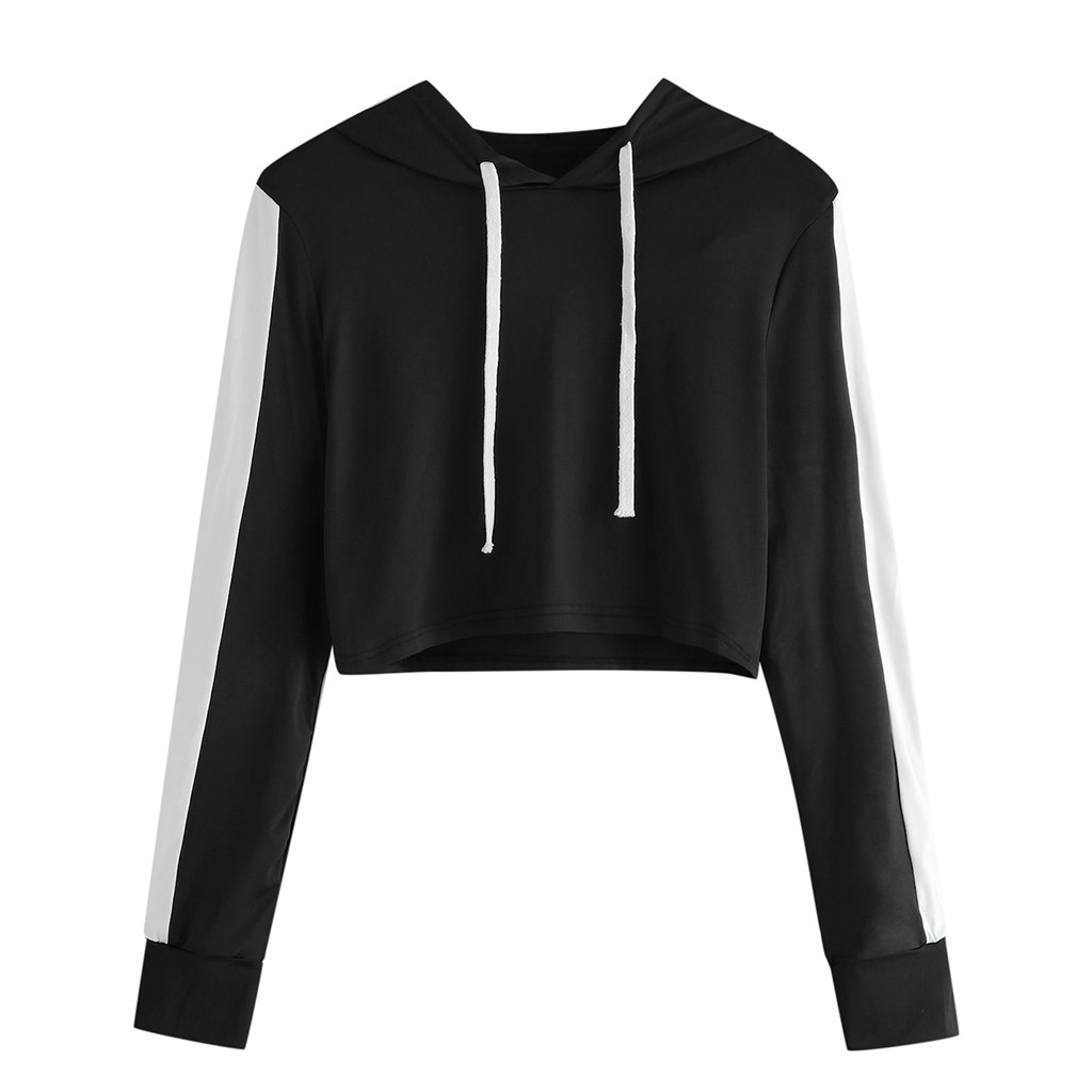 Crop Top Hoodies Women Fall 2020 Fashion Korean Streetwear Casual Long-Sleeve Hoodies Womens Clothing Tops Sudadera Mujer