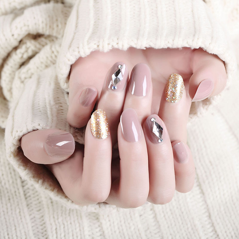 Bride Fake Nails Wear Manicure Finished Product Fake Nails Patch Nude Gold Powder Mid-length Photo Shoot Manicure Stickers 338