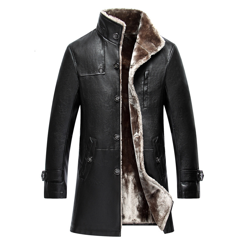 2020 Men Sheep Leather Jacket Coat Parka Real Fur Mens Clothing Long Plush Thick Over Winter Sheepskin Jackets Men Large Size