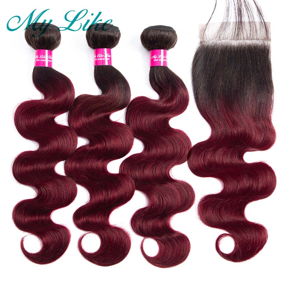 My Like Ombre Bundles with Closure 1b/99j Burgundy Red Human Hair Body Wave Non-remy Brazilian Weave