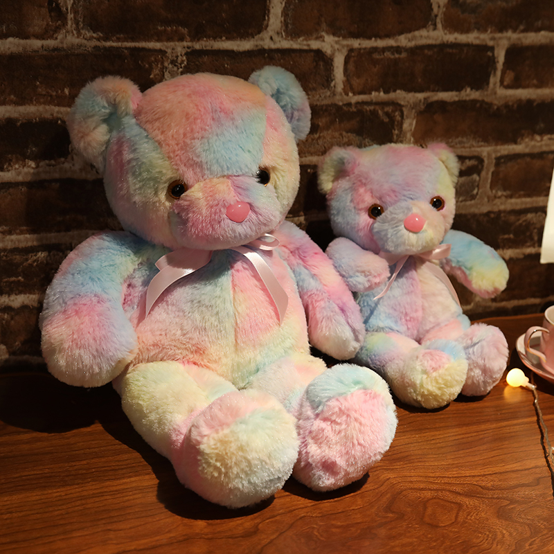 Rainbow Creative Light Up LED Teddy Bear Stuffed Animals Plush Toy Colorful Glowing Christmas Gift for Kids Pillow Just6F
