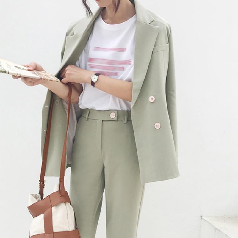 Women Pant Suit Vintage Light Green Casual Office Lady Notched Blazer & Pant Office Wear Women Suits Female Formal Suit Woman