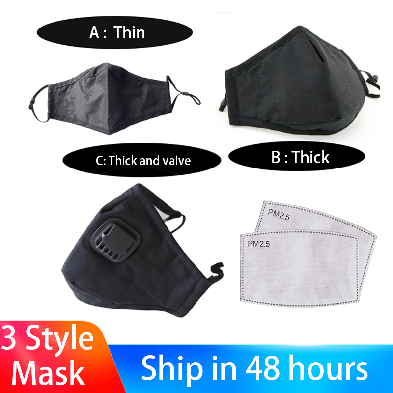 3 Styles PM2.5 Washable Air Purifying Face Masks Anti Dust Mask Activated Carbon Masks Breathable Anti-drip Mask With Filters