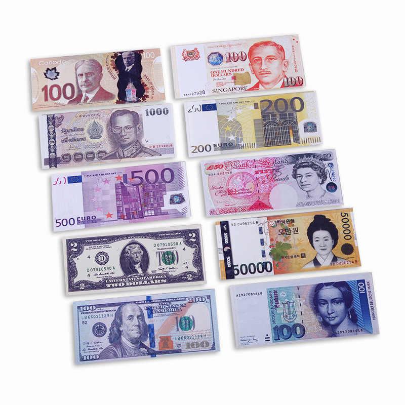 Barato criativo dinheiro impressão padrão carteira pacote de armazenamento dólar sterling euro rublo forma compartimento moeda bolsa