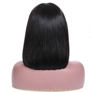 Image 3 - LUFFYHAIR короткие парики боб бразильские 100% прямые волосы Remy 5*4,5 шелковая основа полностью кружевные человеческие волосы парики предварительно выщипанные отбеленные узлы