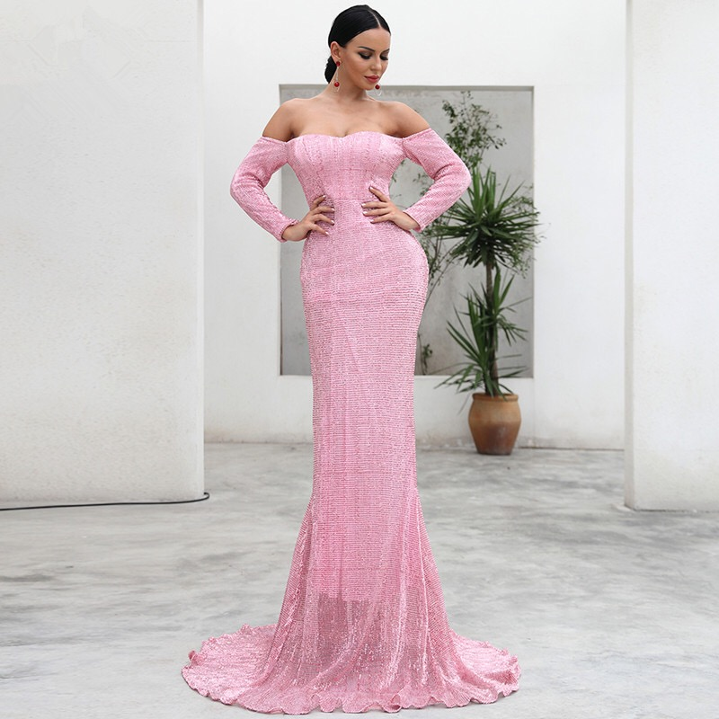 JS673J-2019 dress female sense V-neck off shoulder long sleeve off shoulder bright crystal long skirt