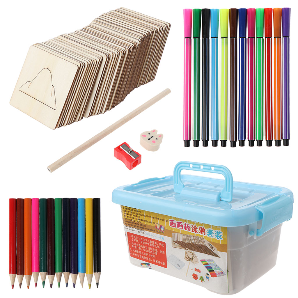 New 145 Pcs/Set Painting Template Baby Kids DIY Handmade Graffiti Color Learning Painting Tools Children Wooden Toy Painting Set