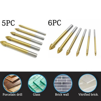 цена на 5/6Pcs Coated Glass Drill Bits Set Cross Spear Head Drill with Hex Shank for Ceramic Tile Marble Mirror Titanium Ceramic Tile