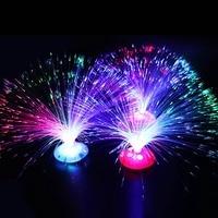 Lámpara de noche pequeña y romántica, luz LED colorida de fibra para regalo de Navidad, parpadeante, juguetes luminosos al azar
