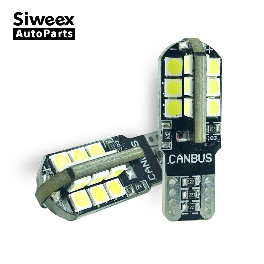 2 Pcs T10 168 194 W5W 24 SMD 3030 Canbus Auto Car LED Bulbs Error Free Turn Signal Light License Plate Lights White Lamp 12V DC