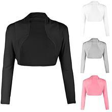 цена на 2019 Fashion Women Ultra short coat Open Front Solid Color Long Sleeve Bolero Shrug Cardigan Coat For Women Coat