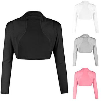 2019 Fashion Women Ultra short coat Open Front Solid Color Long Sleeve Bolero Shrug Cardigan Coat For Women Coat sweet solid color collarless long raglan sleeve cardigan for women