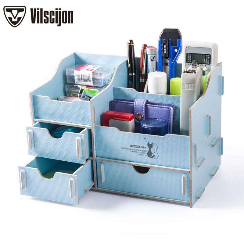 Magazine Organizer Multi-function DIY Cosmetic Desk accessories File Tray Bookends Holder Office Vilscijon