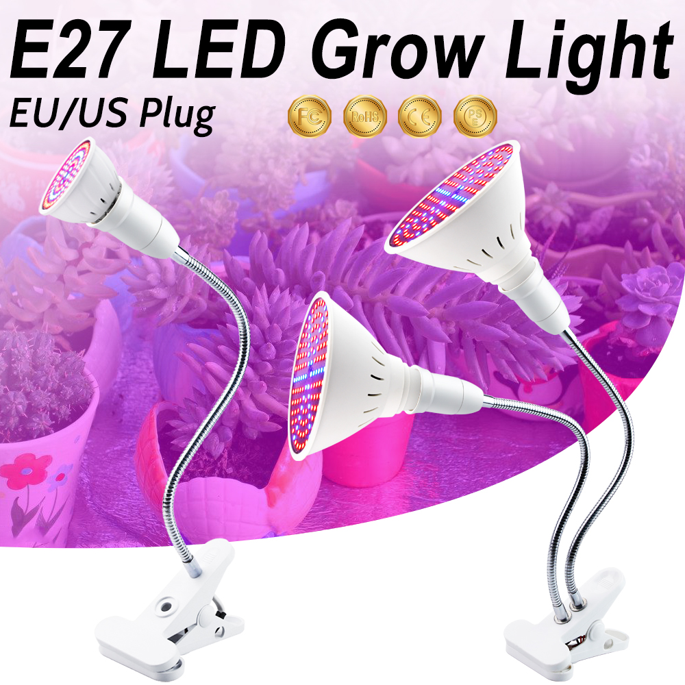 Dual Head  Full Spectrum LED Grow Lights E27 3W 5W 7W 15W 20W Desk Holder Clip Flower Seeds For Hydroponic Indoor Greenhouse