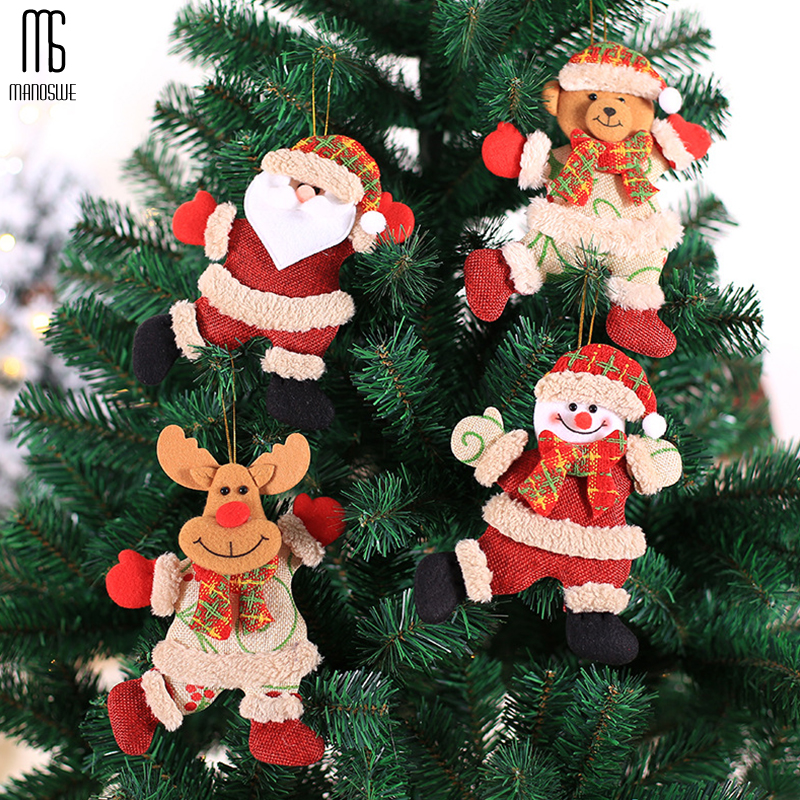 Manoswe 2020 Christmas Sticker Christmas Tree Decoration Pendant Santa Claus Snowman Elk Creative New Year Gift For Children