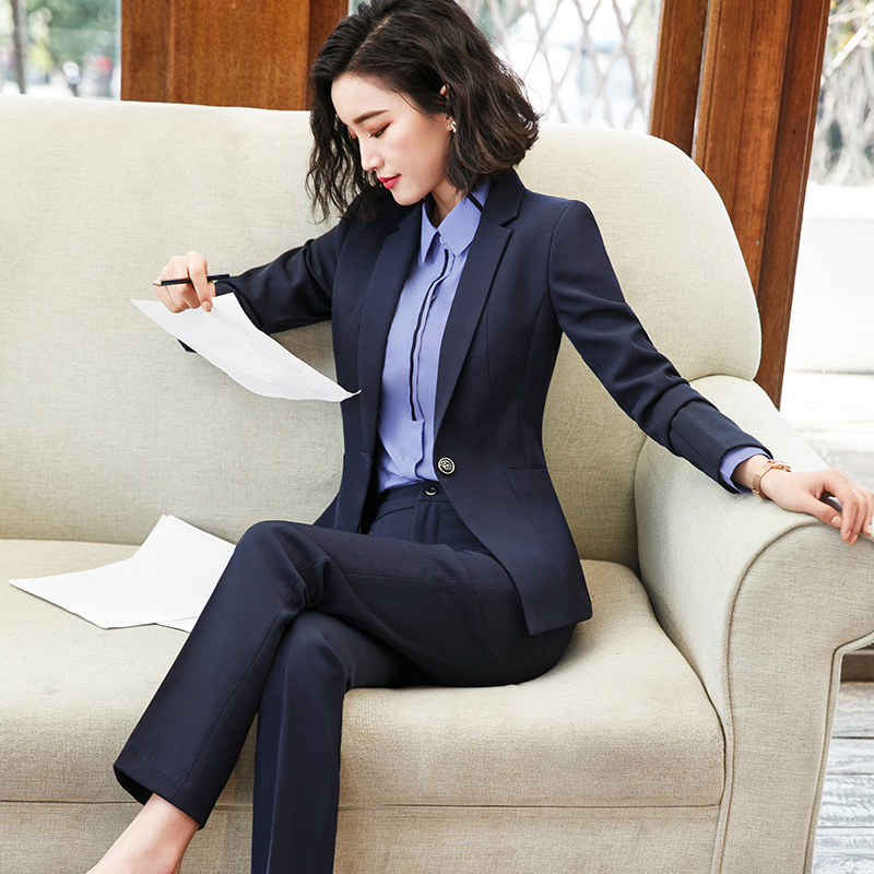 Ladies Suit Autumn And Winter New Slim Slimming Single Buckle Professional Wear Temperament Trousers Women's Two-piece Suit