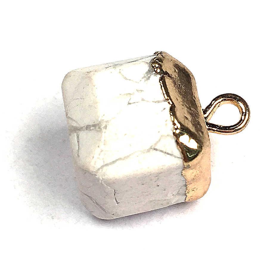 天然石正方形水晶石ペンダントゴールドカラー宝石ペンダントチャームフィットネックレスジュエリーメイキング
