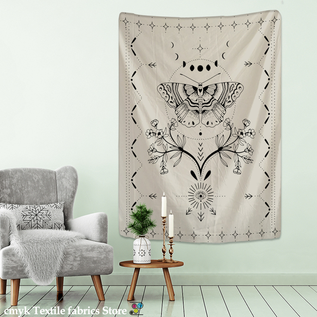 Simple Tarot Flower Butterfly Pattern Tapestry Blanket Psychedelic Witchcraft Wall Hanging Bohemia Gypsy Home Bedroom Decorating